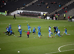 Coventry City's players warm up before kick off at the Stadium MK for for the Emirates FA Cup Fourth Round match