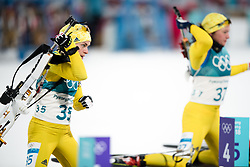 February 12, 2018 - Pyeongchang, SOUTH KOREA - 180212  Elisabeth HÅ¡gberg of Sweden and Linn Persson of Sweden competes in the Women's Biathlon 10km Pursuit during day three of the 2018 Winter Olympics on February 12, 2018 in Pyeongchang..Photo: Jon Olav Nesvold / BILDBYRN / kod JE / 160156 (Credit Image: © Jon Olav Nesvold/Bildbyran via ZUMA Press)