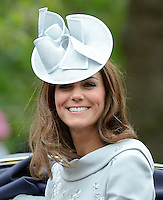 The Duchess of Cambridge attends Trooping the Colour, London, UK, on the 16th June 2012.<br /> <br /> PICTURE BY JAMES WHATLING