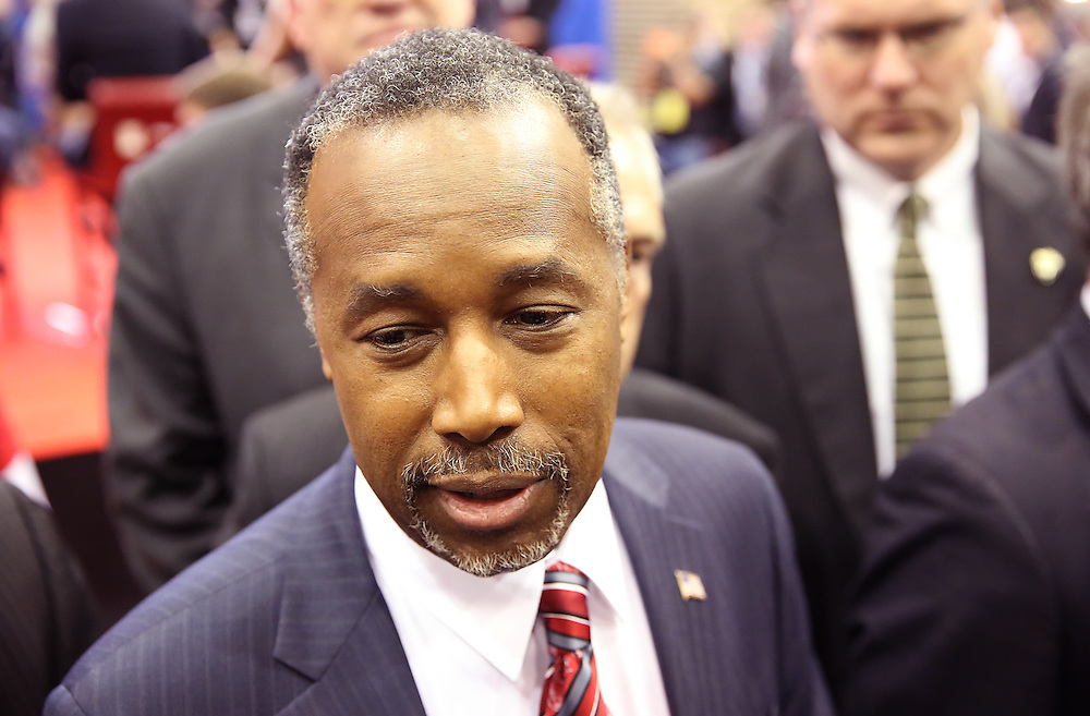 US Republican Presidential Candidate  Ben Carson answers questions from reporters in the spin room after the Republican Presidential Debate at the University of Houston in Houston, Texas on February 25, 2016.