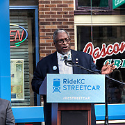 Rail Rally, Kansas City Streetcar construction, July 29, 2015. Mayor Sly James.
