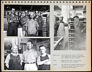 page from a photo album with portrait of factory workers USA 1945