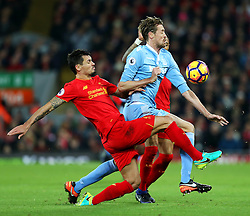 Dejan Lovren of Liverpool tackles Peter Crouch of Stoke City - Mandatory by-line: Matt McNulty/JMP - 27/12/2016 - FOOTBALL - Anfield - Liverpool, England - Liverpool v Stoke City - Premier League