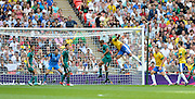Wembley, Greater London, GREAT BRITAIN..Description: left :Brazilian; HULK attacks the Mexician net with a headed attempt.  2012 Olympic Football Men's Final: Brazil vs Mexico [Gold medal Game] at Wembley Stadium, London..16:03:11  Saturday   11/08/2012  [Mandatory Credit: Peter Spurrier/Intersport Images]  Wembley, Great Britain,