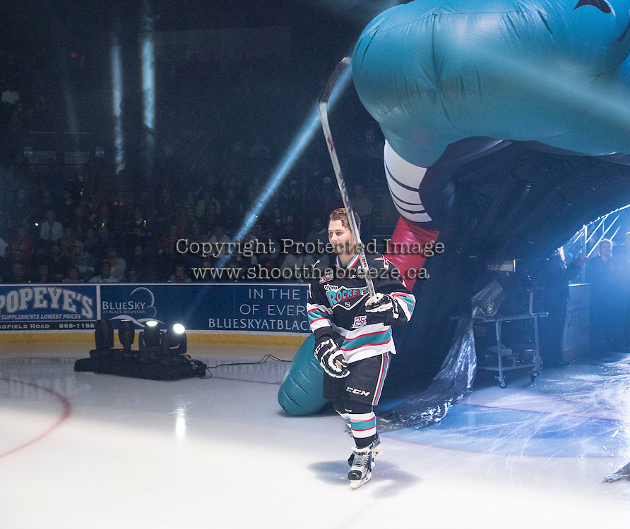KELOWNA, CANADA - SEPTEMBER 25: Tyson Baillie #24 of Kelowna Rockets enters the ice during the season home opener against the Kamloops Blazers on September 25, 2015 at Prospera Place in Kelowna, British Columbia, Canada.  (Photo by Marissa Baecker/Shoot the Breeze)  *** Local Caption *** Tyson Baillie;