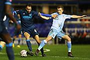 Ed Upson and Jamie Allen compete for the ball during the The FA Cup third round replay match between Coventry City and Bristol Rovers at the Trillion Trophy Stadium, Birmingham, England on 14 January 2020.