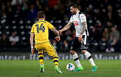 Bradley Johnson of Derby County takes on Stefan Johansen of Fulham - Mandatory by-line: Robbie Stephenson/JMP - 04/04/2017 - FOOTBALL - Pride Park Stadium - Derby, England - Derby County v Fulham - Sky Bet Championship