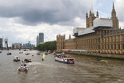 London Bridge, London, June 15th 2016. A flotilla of fishing boats led by UKIP's Nigel Farage heads through Tower Bridge in protest against the EU's Common Fisheries Policy and in support of Britain leaving the EU. PICTURED: The flotilla reaches parliament.