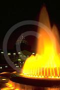 Pennsylvania Capitol Fountain, Evening Color Lights, Yellow, Harrisburg, PA,
