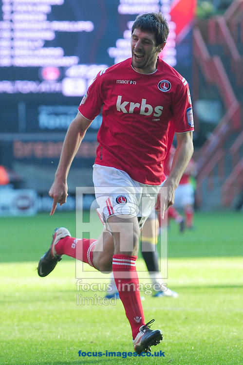 Picture by Alex Broadway/Focus Images Ltd.  07905 628187.22/10/11.Danny Hollands of Charlton celebrates his goal during the Npower League One match at The Valley stadium, London.