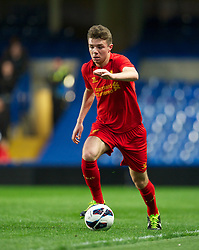 LONDON, ENGLAND - Friday, April 19, 2013: Liverpool's Joe Maguire in action against Chelsea during the FA Youth Cup Semi-Final 2nd Leg match at Stamford Bridge. (Pic by David Rawcliffe/Propaganda)