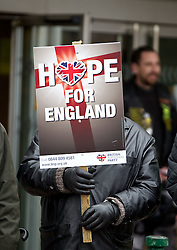 © licensed to London News Pictures. Hyde, UK  25/02/2012. The BNP hold a rally in Hyde on the same day as an EDL demonstration. Photo credit should read Joel Goodman/LNP