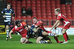 Bristol Rugby Full Back Luke Arscott is tackled - Mandatory byline: Dougie Allward/JMP - 22/01/2016 - RUGBY - Ashton Gate -Bristol,England - Bristol Rugby v Ulster Rugby - B&I Cup