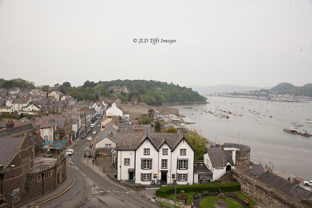 View of Conwy town from the top of the ruins of Conwy Castle, Conwy, Wales.