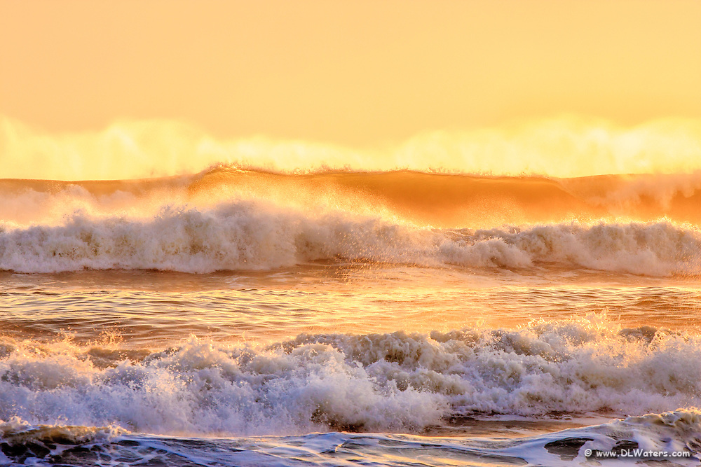 Windblown surf at sunrise on the Outer Banks, NC.