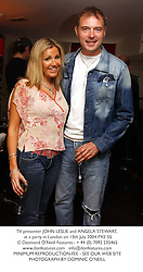 TV presenter JOHN LESLIE and ANGELA STEWART, at a party in London on 13th July 2004.PXE 55
