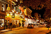Downtown shops and restaurants, Thames St, Newport, RI, Rhode Island, USA