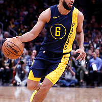 03 April 2018: Indiana Pacers guard Cory Joseph (6) drives during the Denver Nuggets 107-104 victory over the Indiana Pacers, at the Pepsi Center, Denver, Colorado, USA.