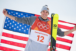 February 18, 2018 - Pyeongchang, South Korea - NICK GOEPPER of the United States celebrates on the awards stand after winning silver in Mens Ski Slopestyle finals Sunday, February 18, 2018 at Phoenix Snow Park at the Pyeongchang Winter Olympic Games.  Photo by Mark Reis, ZUMA Press/The Gazette (Credit Image: © Mark Reis via ZUMA Wire)