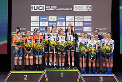Top three: Team Sunweb, Boels Dolmans and Cervélo Bigla at UCI Road World Championships Women's Team Time Trial 2017 a 42.5 km team time trial in Bergen, Norway on September 17, 2017. (Photo by Sean Robinson/Velofocus)