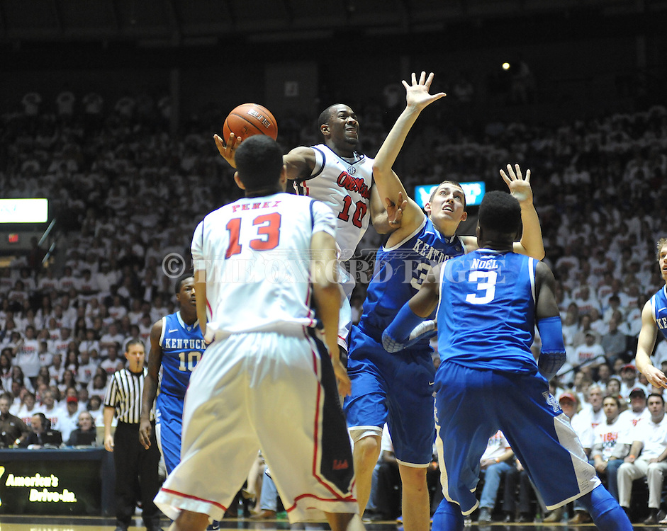 "Ole Miss' LaDarius White (10) shoots against Kentucky's Kyle Wiltjer (33) at the C.M. ""Tad"" Smith Coliseum on Tuesday, January 29, 2013.  ."