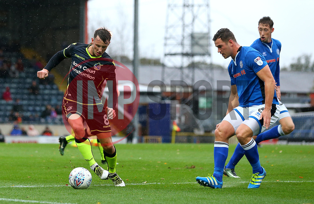 Ollie Clarke of Bristol Rovers takes on Harrison McGahey of Rochdale - Mandatory by-line: Robbie Stephenson/JMP - 21/10/2017 - FOOTBALL - Crown Oil Arena - Rochdale, England - Rochdale v Bristol Rovers - Sky Bet League One