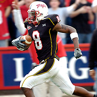 11 November 2006:   The University of Maryland's Darrius Heyward-Bey (8) runs t the end zone after catching a 96 yard touchdown pass from Sam Hollenbach in the second quarter against Miami University.  It was the longest touchdown on a pass play ever given up by Miami University. The Maryland Terrapins defeated the Miami University Hurricanes 14-13 at Byrd Stadium in College Park, Maryland.<br />
