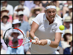 Image ©Licensed to i-Images Picture Agency. 03/07/2014. London, United Kingdom. Petra Kvitova in the  Wimbledon Ladies Singles Semi Finals against Lucie Safarova <br />  at Wimbledon. Picture by Andrew Parsons / i-Images