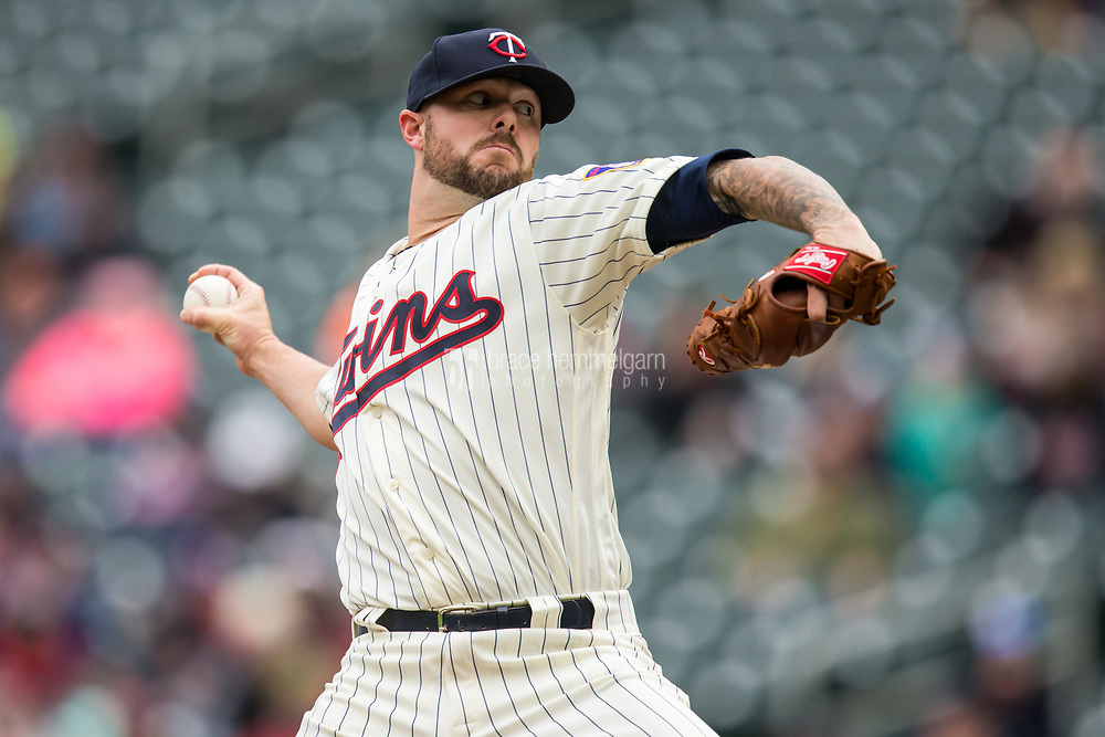 MINNEAPOLIS, MN- APRIL 5: Ryan Pressly #57 of the Minnesota Twins pitches against the Kansas City Royals on April 5, 2017 at Target Field in Minneapolis, Minnesota. The Twins defeated the Royals 9-1. (Photo by Brace Hemmelgarn) *** Local Caption *** Ryan Pressly