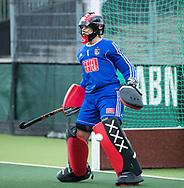 AMSTELVEEN - keeper Anne Veenendaal (A'dam)  voor  Amsterdam-Huizen (4-1), competitie Hoofdklasse hockey dames   (2017-2018) .COPYRIGHT KOEN SUYK