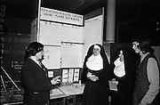 "04/01/1967.01/04/1967.4th January 1967 .The third annual Aer Lingus Young Scientist Exhibition at the RDS..Picture shows Eileen Mary Dillon (on left of picture) from the Convent of Mercy, Spanish Point, Co. Clare, explaining her exhibit ""The identification of blood groups using plant(seed) extracts"" to (L-R) Sr. Arangelists, Sr. Magdelene (both from St Marys Convent, Arklow) and Bernadette Flynn from Spanish Point. Eileen Dillion was joint first prize winner in the junior biochemistry section. ."