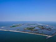 Nederland, Flevoland, Markermeer, 26-08-2019; Marker Wadden in het Markermeer. Overzicht, gezien  XYXZ.<br /> Doel van het project van Natuurmonumenten en Rijkswaterstaat is natuurherstel, met name verbetering van de ecologie in het gebied, in het bijzonder de kwaliteit van bodem en water<br /> Naast het hoofdeiland is er inmiddels een tweede eiland in wording, de uiteindelijk Marker Wadden archipel zal uit vijf eilanden bestaan. <br /> Marker Wadden, artifial islands. The aim of the project is to restore the ecology in the area, in particular the quality of soil and water.<br /> The first phase of the construction, the main island, is finished. <br /> <br /> luchtfoto (toeslag op standard tarieven);<br /> aerial photo (additional fee required);<br /> copyright foto/photo Siebe Swart