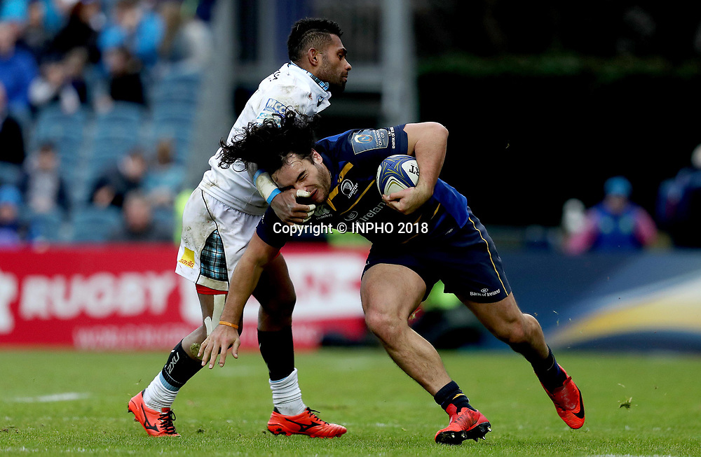 European Rugby Champions Cup Round 5, RDS, Dublin 14/1/2018<br /> Leinster vs Glasgow Warriors<br /> Glasgow Warriors&rsquo; Nikola Matawalu with James Lowe of Leinster<br /> Mandatory Credit &copy;INPHO/Tommy Dickson
