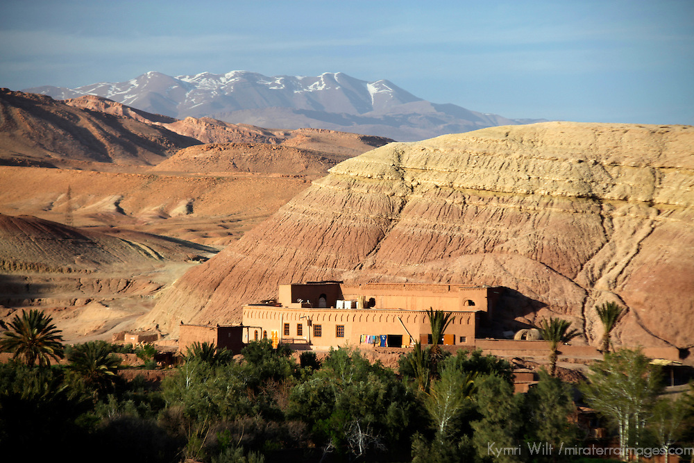 Africa, Morocco, Ouarzazate. View of Atlas Mountains from Ait Ben Haddou, a UNESCO World Heritage Site and setting for many films.