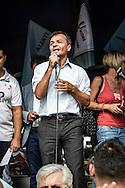 Emiliano Albensi<br /> 28/09/2016 Roma (Italia)<br /> Manifestazione &quot;No Bolkestein&quot; con Di Maio e Salvini<br /> Nella foto: Stefano Fassina (Futuro a Sinistra) parla sul palco durante manifestazione organizzata dagli ambulanti di tutta Italia contro la direttiva Bolkestein, imposta dall'Unione Europea e che prevede la messa a bando delle licenze. <br /> <br /> Emiliano Albensi<br /> 28/092016 Rome (Italy)<br /> &quot;No Bolkestein&quot; Demonstration with Di Maio and Salvini<br /> In the picture: Stefano Fassina (Future at Left) speakin on the stage during the demonstration organized by Italian peddlers against the Bolkestein directive, imposed by the European Union and according to which it will be issued a tender for all the Licenses.