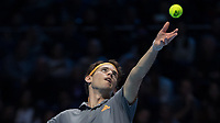 Tennis - 2019 Nitto ATP Finals at The O2 - Day One<br /> <br /> Singles Group Bjorn Borg: Roger Federer (Switzerland) vs. Dominic Thiem (Austria)<br /> <br /> Dominic Thiem (Austria) serving<br /> <br /> COLORSPORT/DANIEL BEARHAM