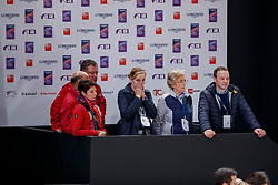 HILBERATH Jonny (Co Bundestrainer GER), KOENE Marc (Tierarzt GER), THEODORESU Monica (Bundestrainer Dressur GER), ARNS-KROGMANNChristine (Pferdebesitzer GER), ARNS-KROGMANN Frank (Pferdebesitzer GER), WINTER-SCHULZE Madeleine (Pferdebesitzer GER)<br /> Paris - FEI World Cup Finals 2018<br /> FEI World Cup Grand Prix de Dressage<br /> www.sportfotos-lafrentz.de/Stefan Lafrentz<br /> 13. April 2018