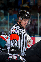 KELOWNA, CANADA - FEBRUARY 10: Referee Ward Pateman stands at centre ice at the Kelowna Rockets against the Vancouver Giants on February 10, 2017 at Prospera Place in Kelowna, British Columbia, Canada.  (Photo by Marissa Baecker/Shoot the Breeze)  *** Local Caption ***