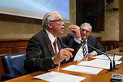 Rome oct 15,2015, two senators suspended for  offensive gestures to female colleagues attends to press conference to explain their facts version. In the picture Lucio Barani repeats his gesture; at right Vincenzo D'Anna