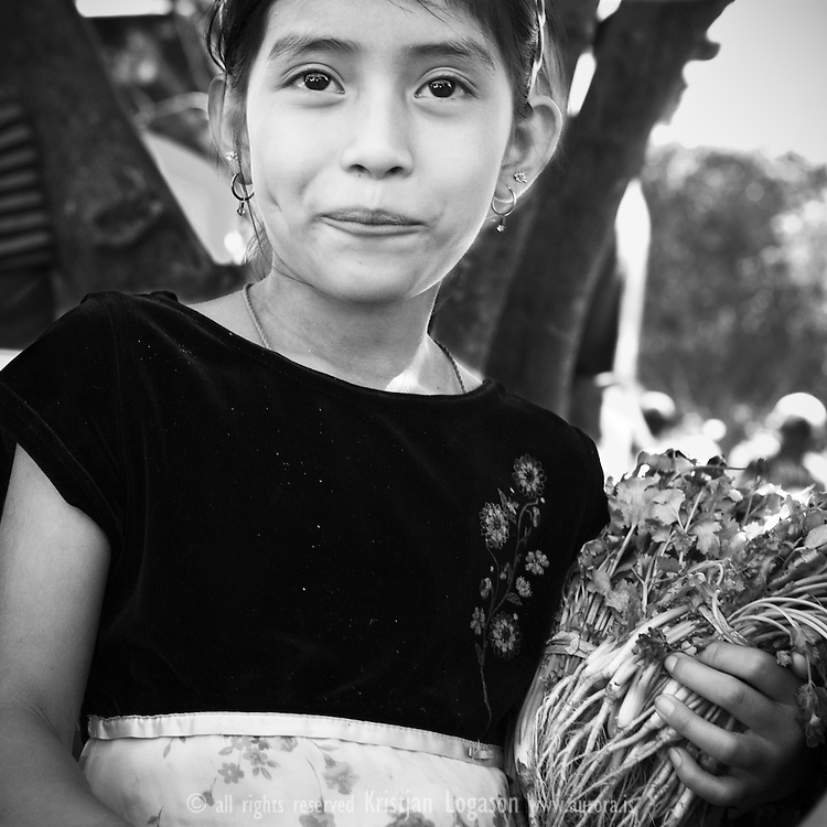 Young girls selling spice at the fiesta gastronomica in Juayua