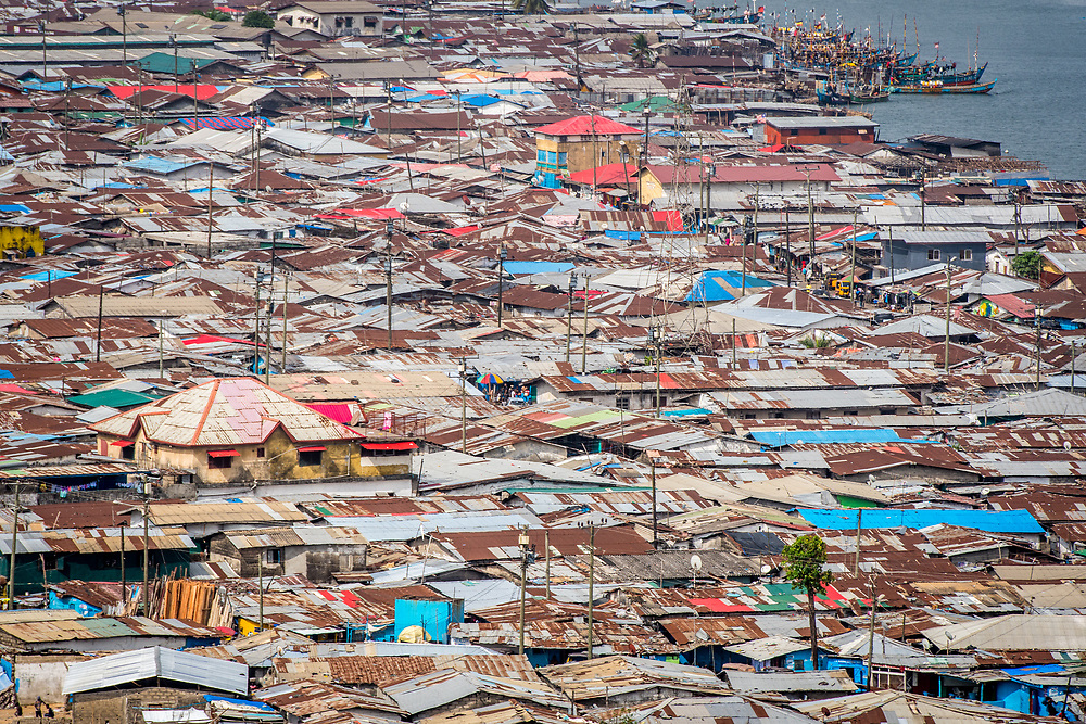 An elevated view of the rooftops of the West Point slums in the city of Monrovia, Liberia.