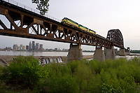 Train Passing over the Falls of the Ohio and Downtown Louisville, Falls of the Ohio State Park, Indiana