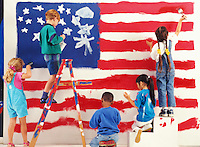 Children Painting a United States Flag