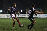 Peter Lydon's grubber sets up Miles Mantella for the opening try during the British &amp; Irish Cup match between London Scottish &amp; Connacht Eagles at Richmond, Greater London on Friday 29th November 2014<br /> <br /> Photo: Ken Sparks | UK Sports Pics Ltd<br /> London Scottish v Connacht Eagles, British &amp; Irish Cup,29th November 2014<br /> <br /> &copy; UK Sports Pics Ltd. FA Accredited. Football League Licence No:  FL14/15/P5700.Football Conference Licence No: PCONF 051/14 Tel +44(0)7968 045353. email ken@uksportspics.co.uk, 7 Leslie Park Road, East Croydon, Surrey CR0 6TN. Credit UK Sports Pics Ltd