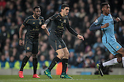 Tom Rogic (Celtic) watches as his shot goes goal-wards during the Champions League match between Manchester City and Celtic at the Etihad Stadium, Manchester, England on 6 December 2016. Photo by Mark P Doherty.