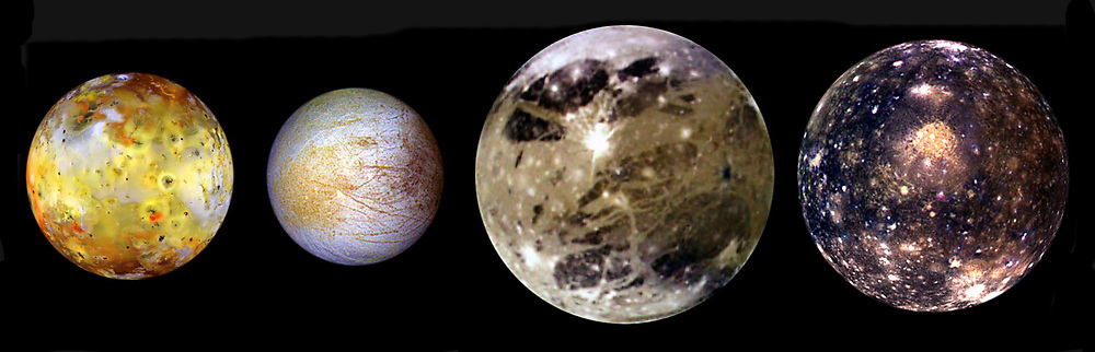 four moons of Jupiter are shown to scale. These four largest moons of Jupiter shown in increasing distance from Jupiter are (left to right) Io, Europa, Ganymede, and Callisto. These global views show the side of volcanically active Io which always faces away from Jupiter, icy Europa, the Jupiter-facing side of Ganymede, and heavily cratered Callisto. Io, which is slightly larger than Earth's moon, is the most colourful of the Galilean satellites. Its surface is covered by deposits from actively erupting volcanoes, hundreds of lava flows, and volcanic vents which are visible as small dark spots. Calisto's dark surface is pocked by numerous bright impact craters.
