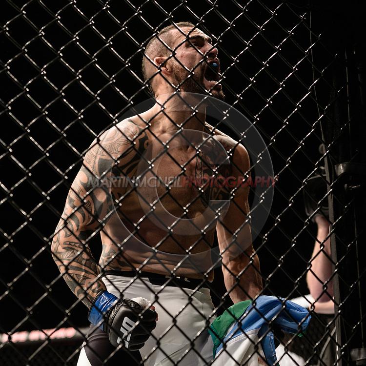 "GLASGOW, UNITED KINGDOM, JULY 16, 2017: Santiago Ponzinibbio during ""UFC Fight Night Glasgow: Nelson vs. Ponzinibbio"" inside the SSE Hydro Arena in Glasgow, Scotland on Sunday, July 16, 2017."