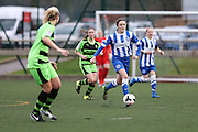 Brighton's Holly Olding on the ball during the FA Women's Premier League match between Forest Green Rovers Ladies and Brighton Ladies at the Hartpury College, United Kingdom on 24 January 2016. Photo by Shane Healey.