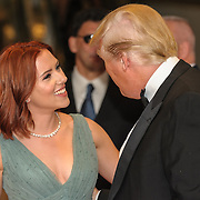 Donald Trump speaks with Scarlett Johansson at the 2011White House Correspondents Dinner at the Washington Hilton. Photo by Kyle Gustafson.