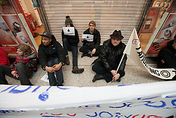 © under license to London News Pictures. 18/12/2010: Approximately 25 protesters picketed Top Shop and other shops associated with Philip Green, Vodafone and Boots to highlight corporate tax-avoidance. For a time they forced the closure of Vodafone in Manchester's Arndale Centre.